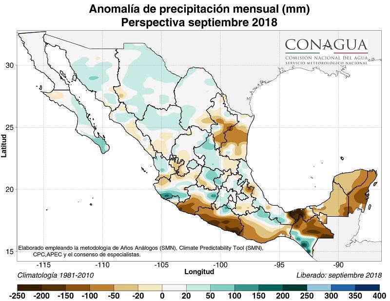 mexicoanomaliaPseptiembre18 ART 90: PREVISIÓN DEL TIEMPO EN MÉXICO SEPTIEMBRE 2018