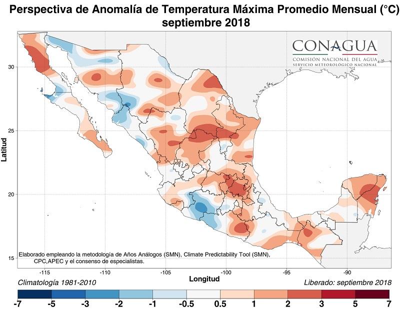 mexicoanomaliaTseptiembre18 ART 90: PREVISIÓN DEL TIEMPO EN MÉXICO SEPTIEMBRE 2018