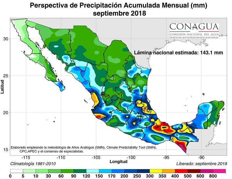 mexicoperspectivaPseptiembre18 ART 90: PREVISIÓN DEL TIEMPO EN MÉXICO SEPTIEMBRE 2018