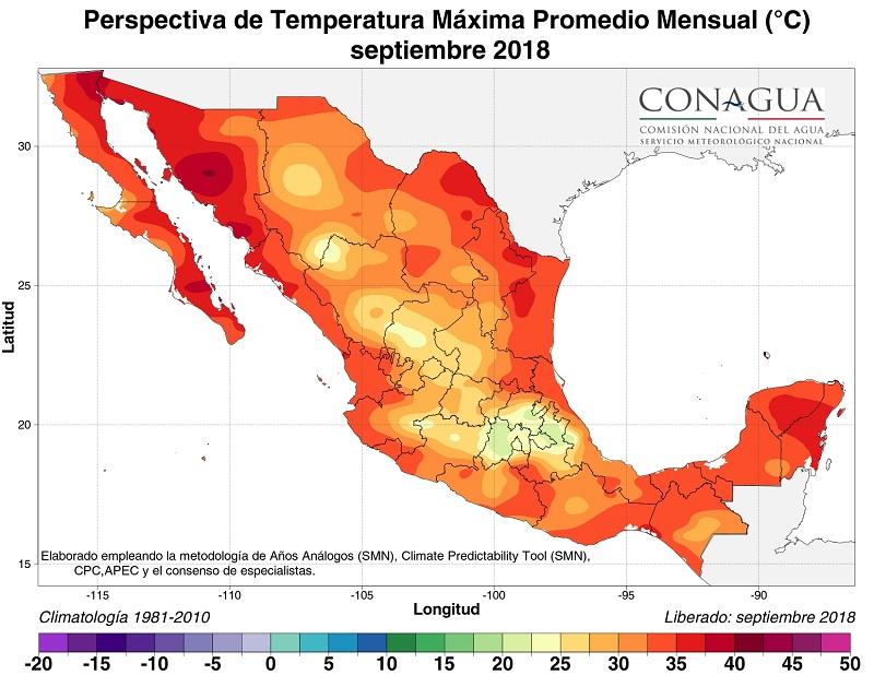 mexicoperspectivaTmaxseptiembre18 ART 90: PREVISIÓN DEL TIEMPO EN MÉXICO SEPTIEMBRE 2018