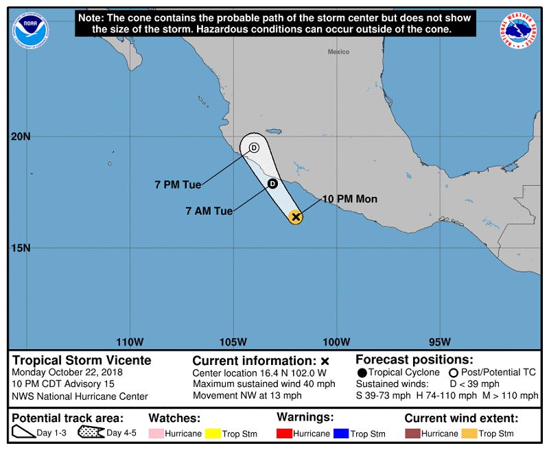 vicente025043 5day cone no line and wind ART 96: EL TIEMPO EN MÉXICO: HURACANES, TORMENTAS TROPICALES Y LLUVIAS OCTUBRE 2018