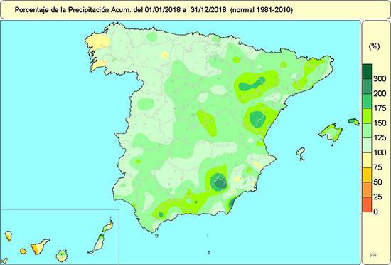 1547234444 772 el ano 2018 fue calido y muy humedo en el conjunto de espana agencia estatal de meteorologa El año 2018 fue cálido y muy húmedo en el conjunto de España   Agencia Estatal de Meteorologa