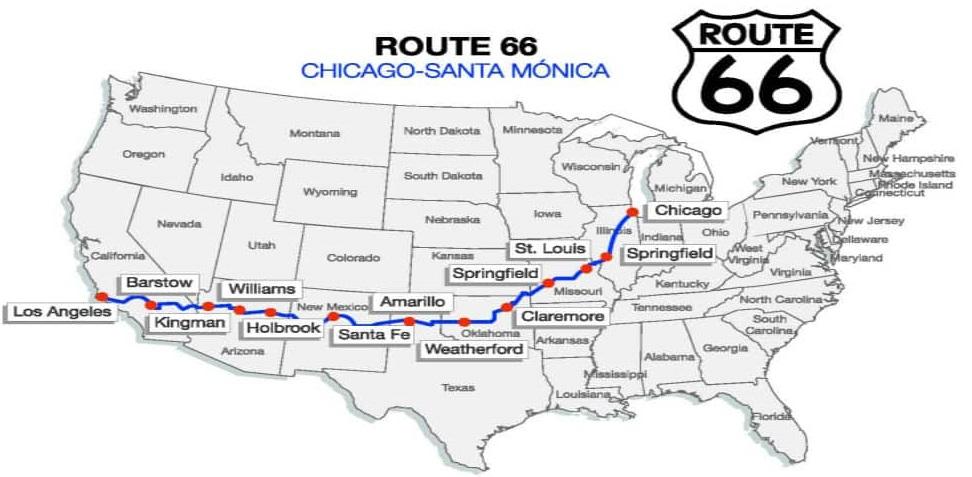 ruta66mapa ART 117: VIAJANDO: EL TIEMPO EN TU DESTINO RUTA 66 DE EE.UU