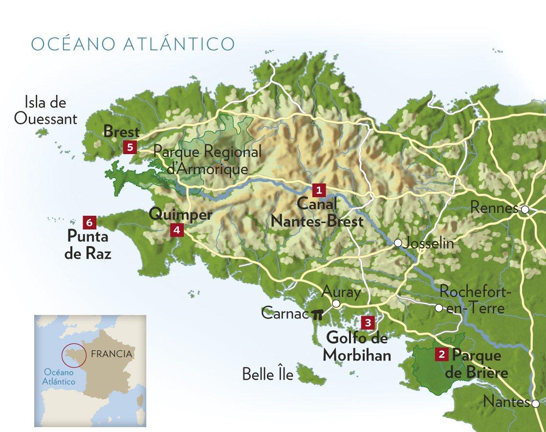 Bretaña Y Normandia Mapa.Art 126 Viajando El Tiempo En Tu Destino Bretana Francesa
