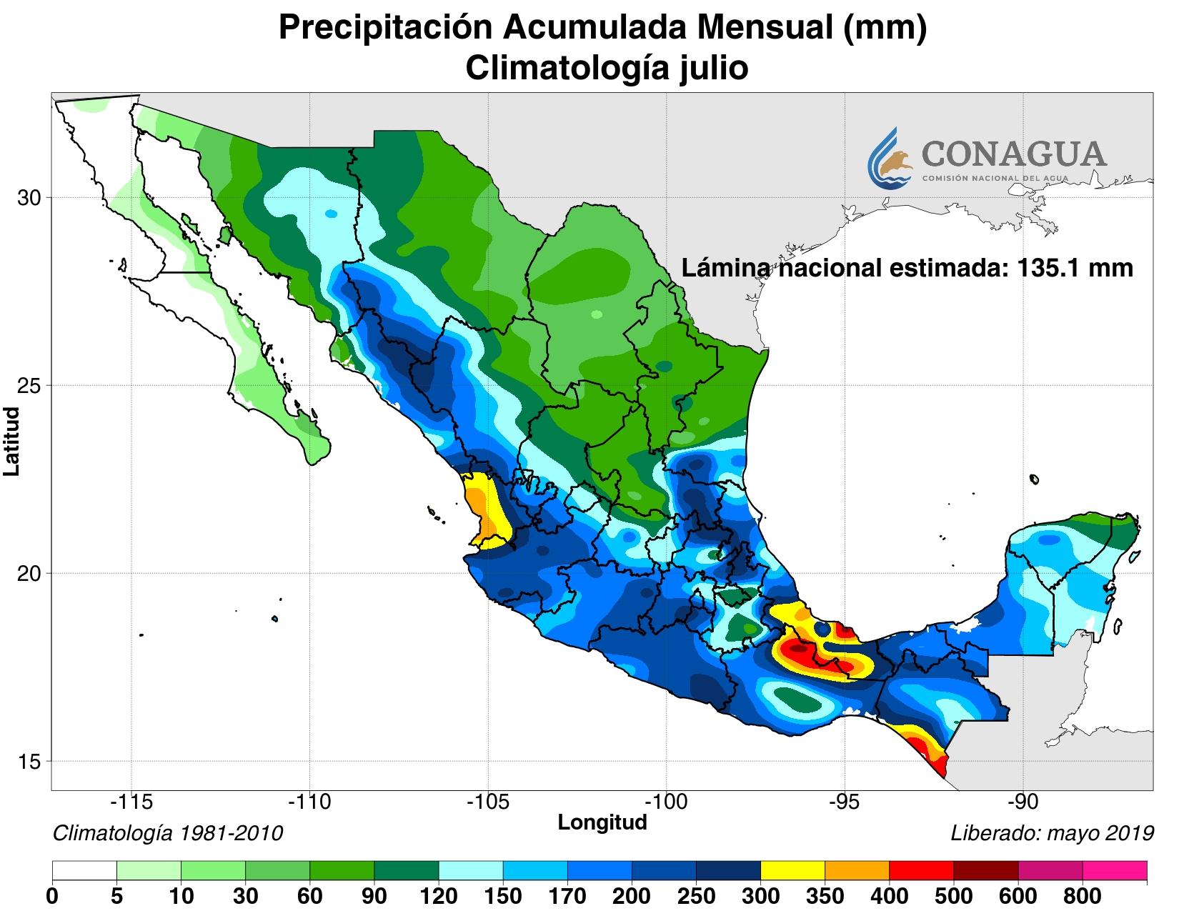 mexicoacumuladaPjulio19 ART 133: EL TIEMPO EN MÉXICO: TEMPORADA DE LLUVIAS 2019