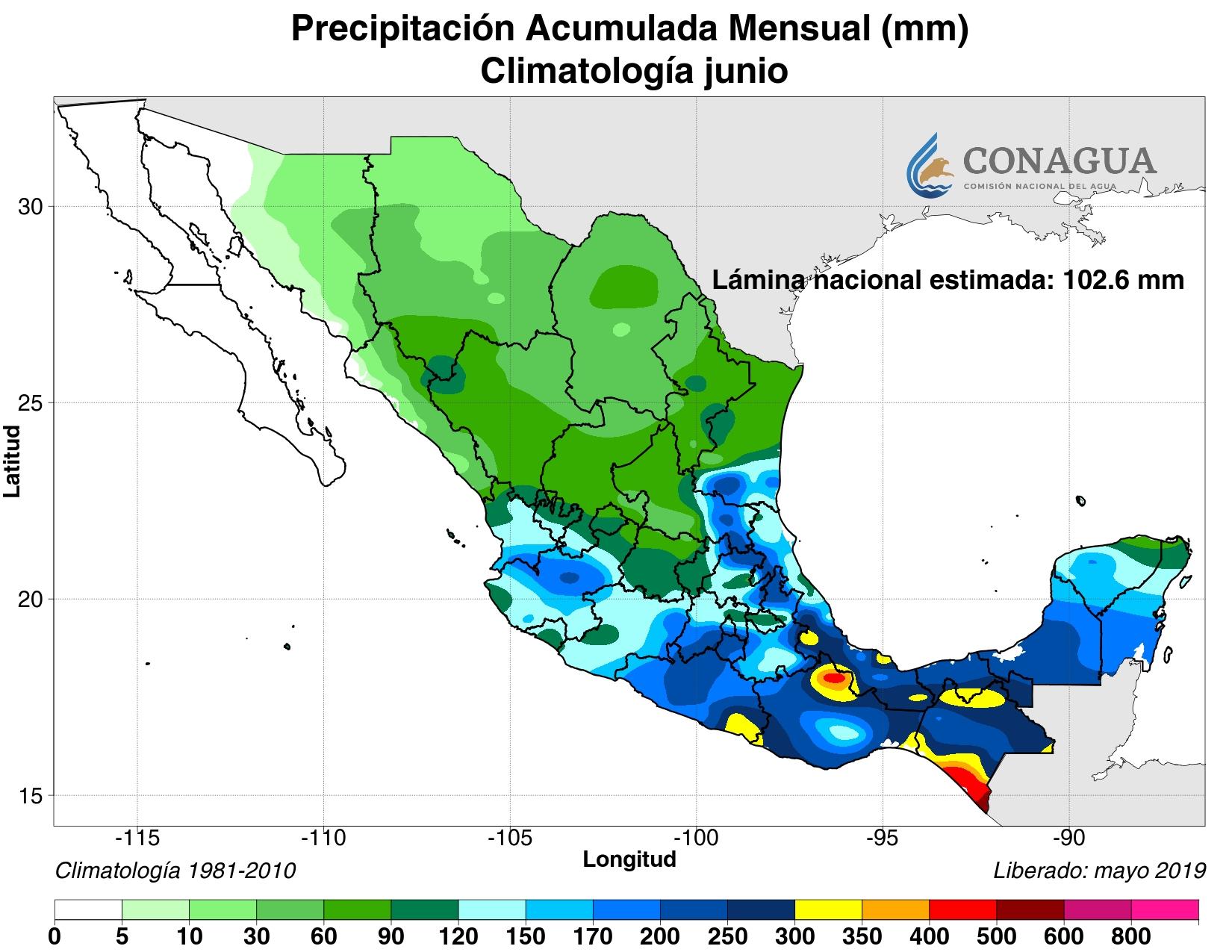 mexicoacumuladaPjunio19 ART 133: EL TIEMPO EN MÉXICO: TEMPORADA DE LLUVIAS 2019
