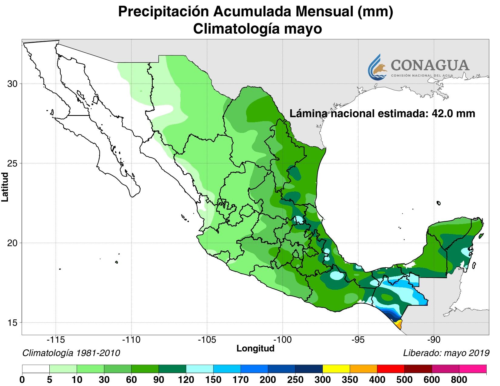 mexicoacumuladaPmayo19 ART 133: EL TIEMPO EN MÉXICO: TEMPORADA DE LLUVIAS 2019