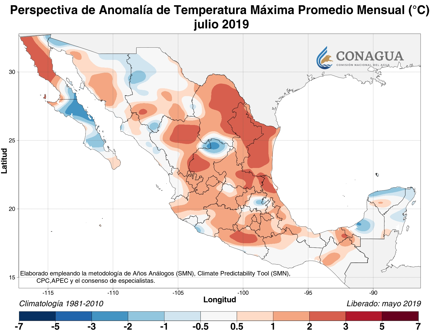 mexicoanomaliaTjulio19 ART 133: EL TIEMPO EN MÉXICO: TEMPORADA DE LLUVIAS 2019