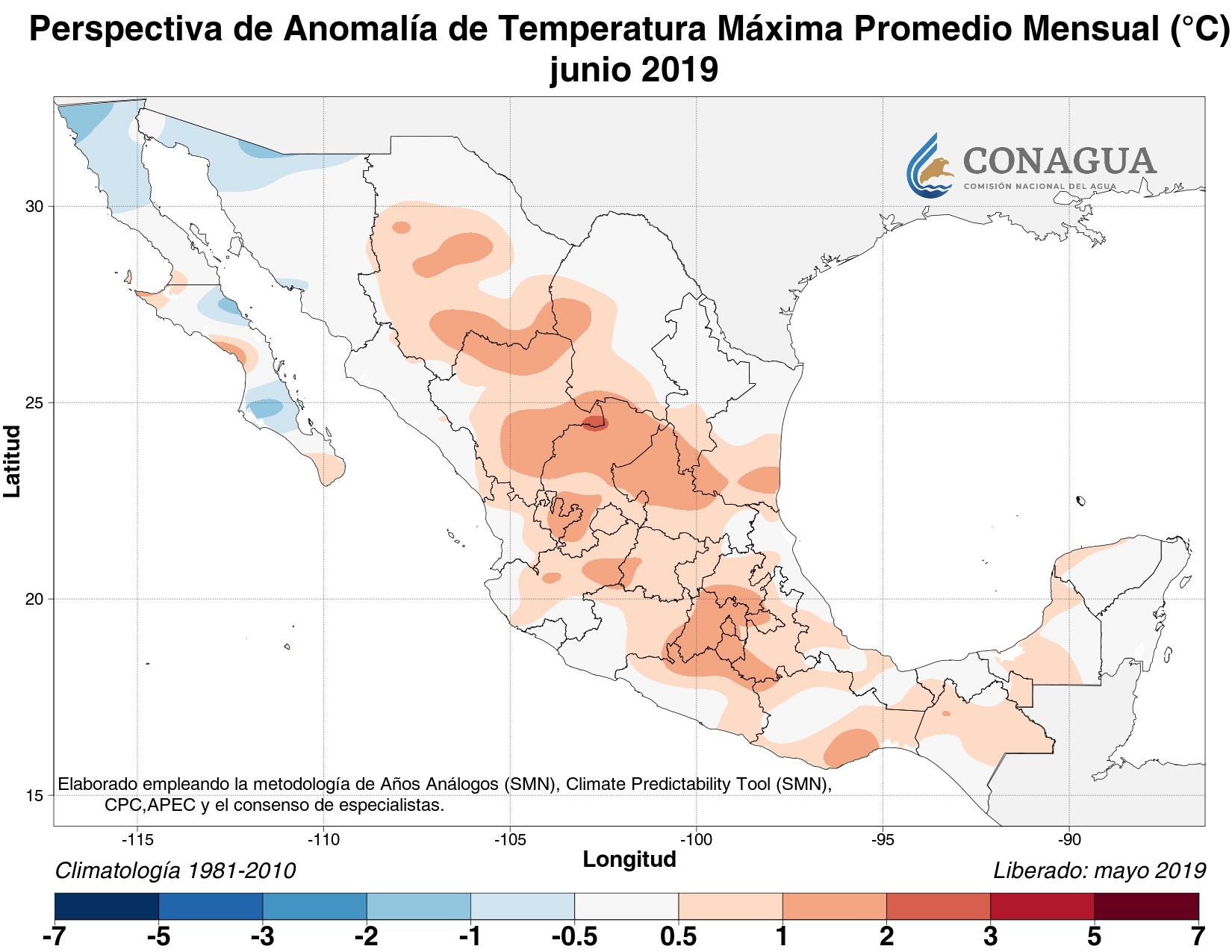 mexicoanomaliaTjunio19 ART 133: EL TIEMPO EN MÉXICO: TEMPORADA DE LLUVIAS 2019
