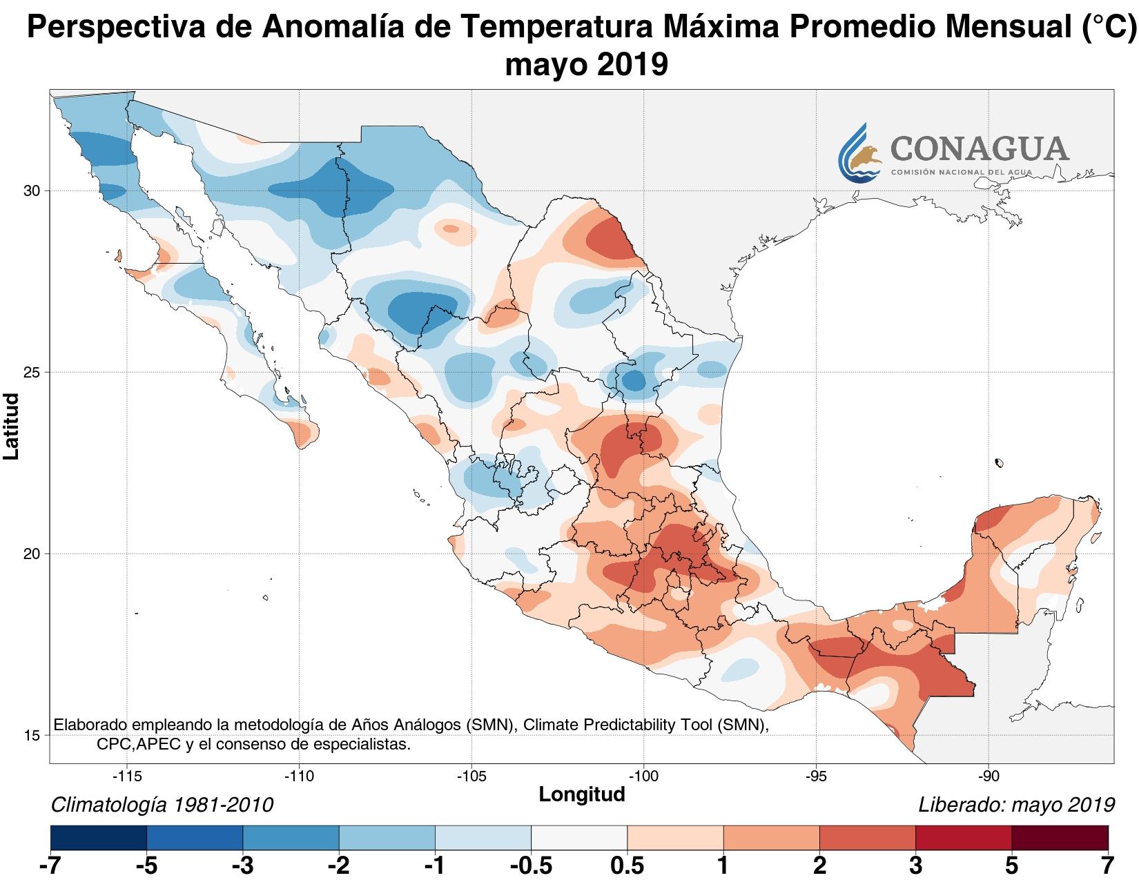 mexicoanomaliaTmayo19 ART 133: EL TIEMPO EN MÉXICO: TEMPORADA DE LLUVIAS 2019