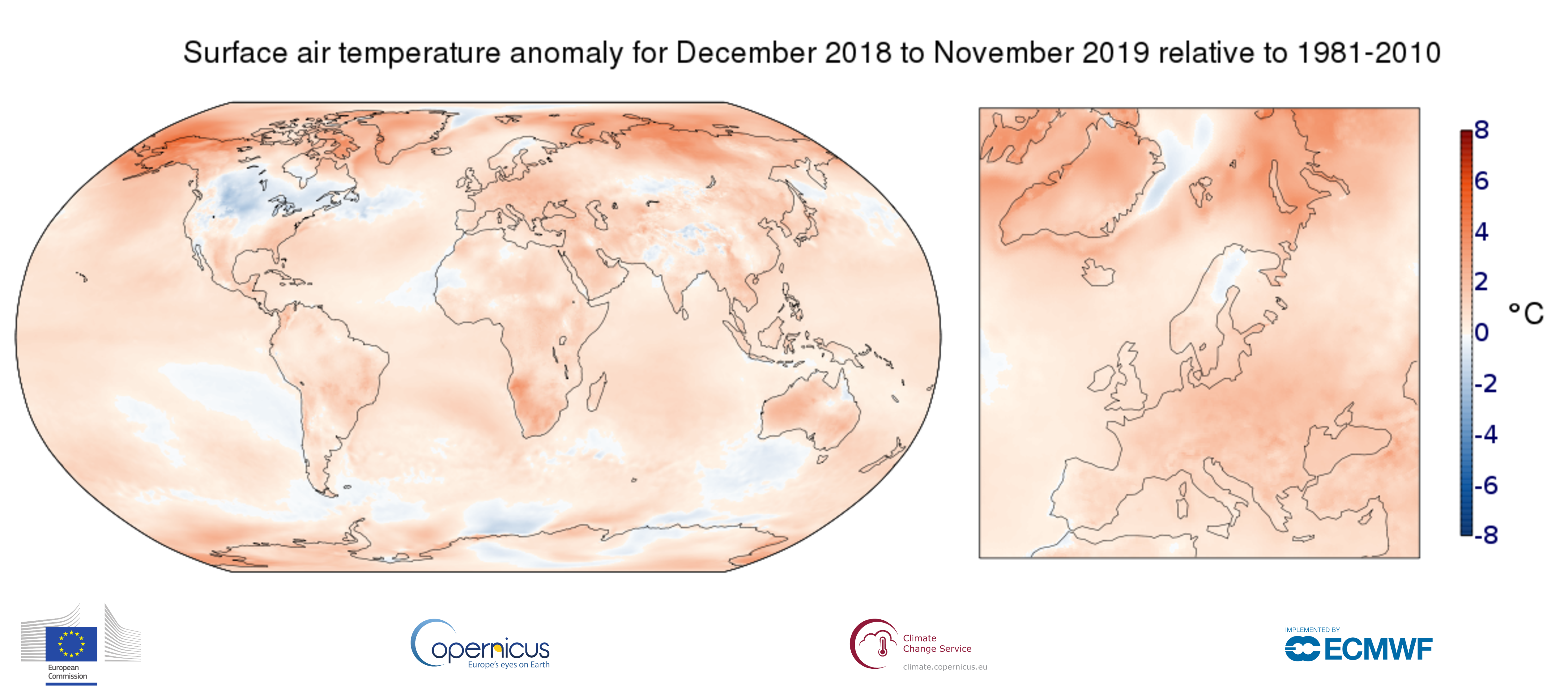 map 12month anomaly Global ea 2t 201911 v02 0 ART 158: TEMPERATURA DEL AIRE EN SUPERFICIE N0VIEMBRE 2019