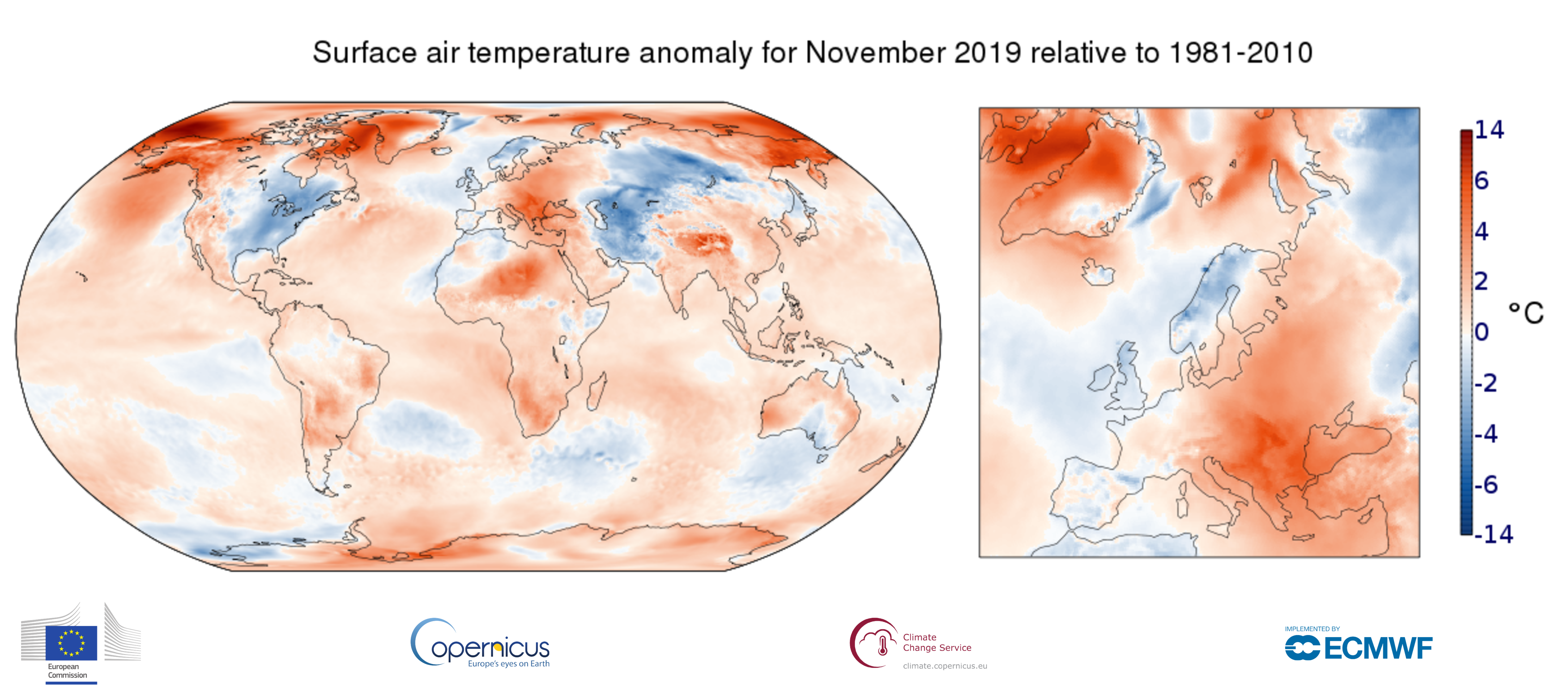 map 1month anomaly Global ea 2t 201911 v02 1 ART 158: TEMPERATURA DEL AIRE EN SUPERFICIE N0VIEMBRE 2019