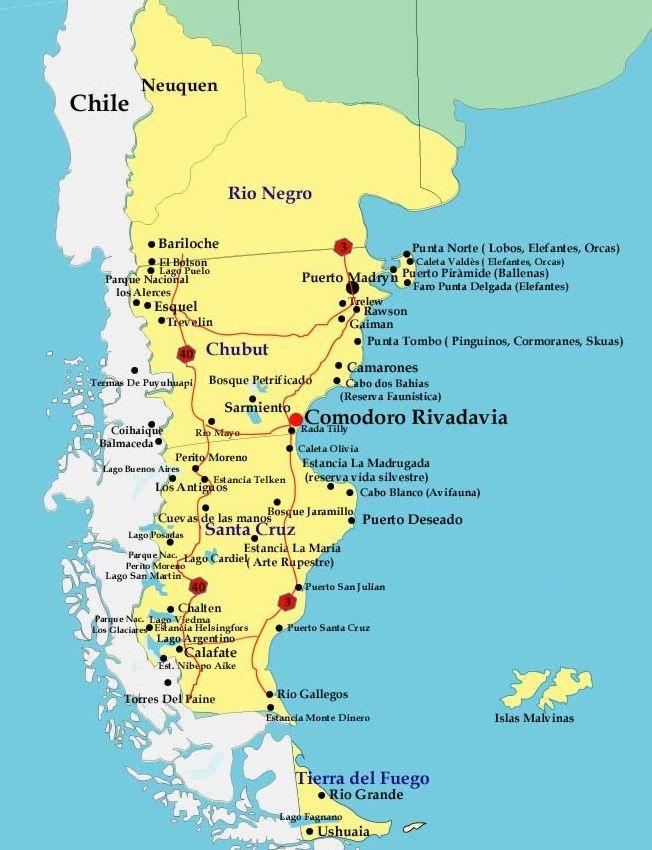 patagoniaargentinamapa ART 177: VIAJANDO: EL TIEMPO EN TU DESTINO PATAGONIA ARGENTINA