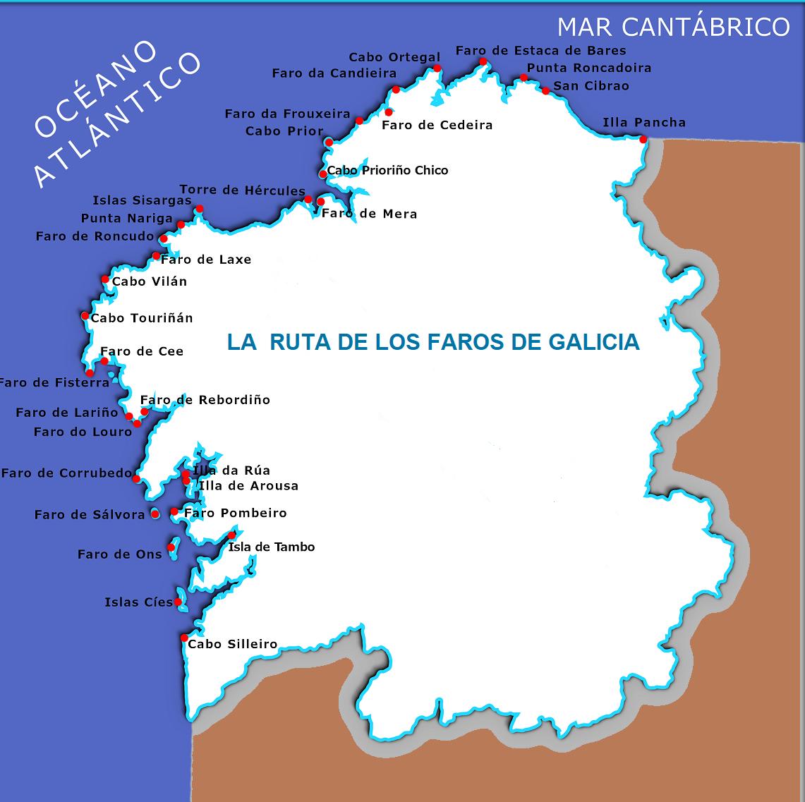 galicia mapa faros ART 225: VIAJANDO: EL TIEMPO EN TU DESTINO RUTA DE LOS FAROS/GALICIA