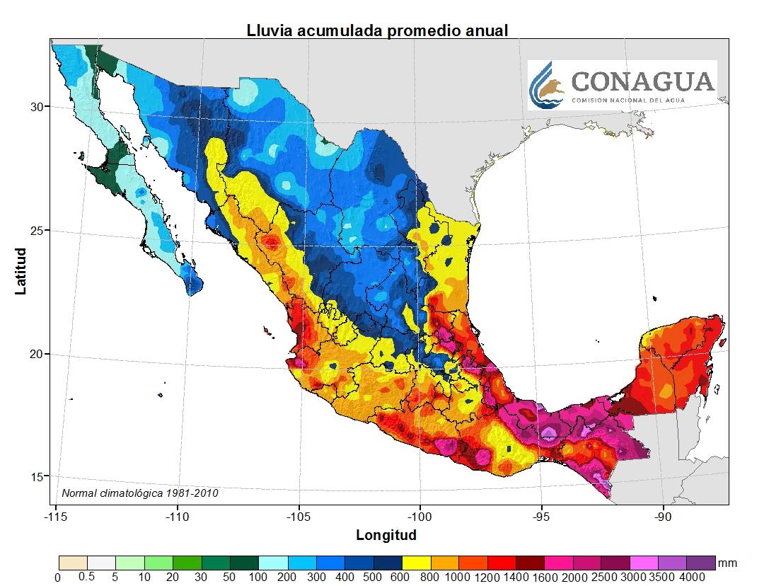 mexicolluviapromedioanual ART 239: DIVERSIDAD DEL CLIMA EN MÉXICO