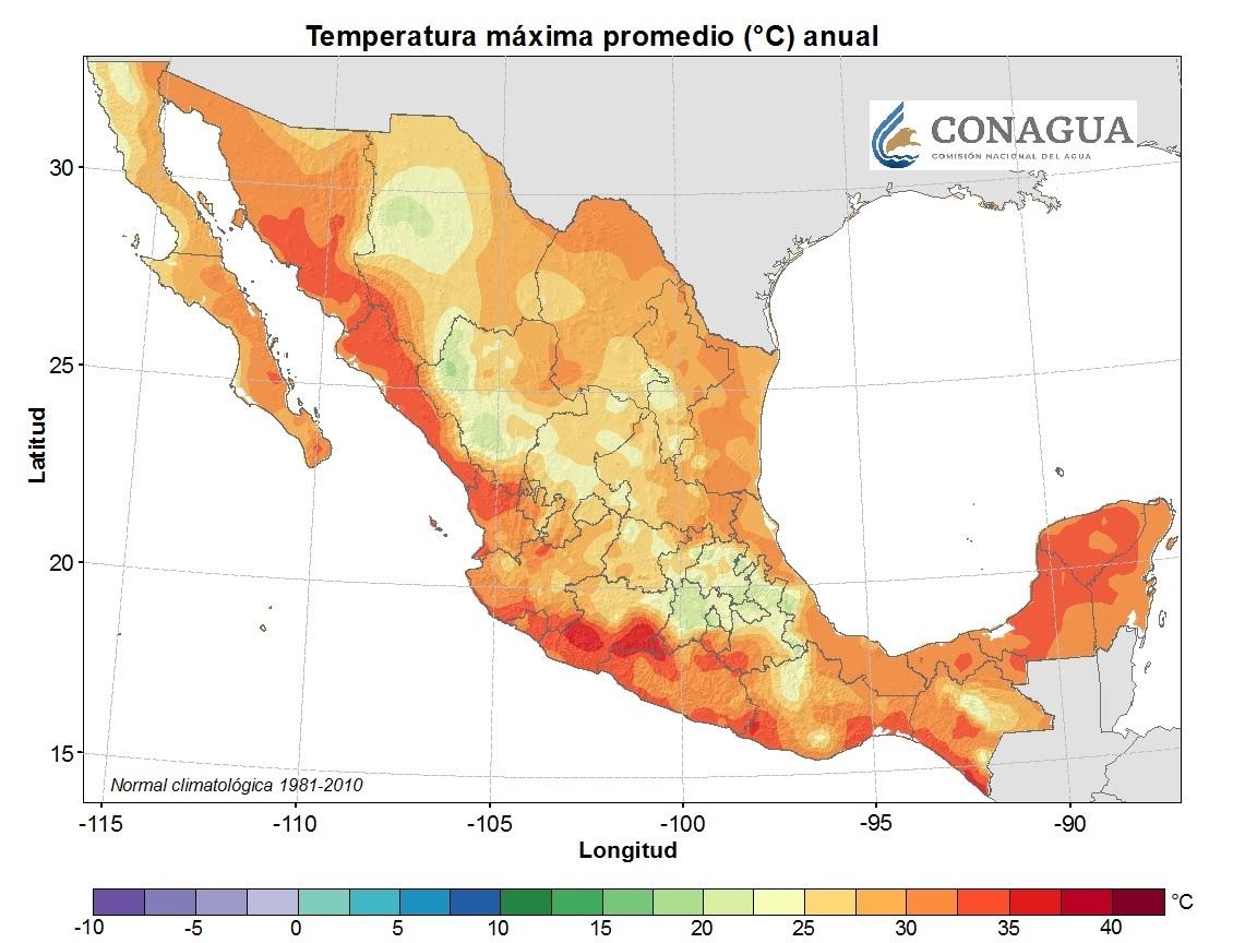 mexicotemperaturamadiamaximaanual ART 239: DIVERSIDAD DEL CLIMA EN MÉXICO